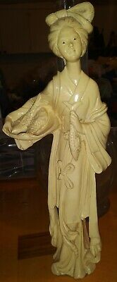 Antique/Vintage Asian Hand Carved Soapstone Woman with fish Statue Figure