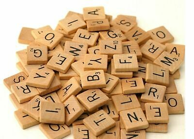 100 Wooden Scrabble Tiles Black Letters Numbers For Crafts Wood Alphabets Scrb
