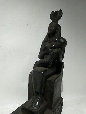 RARE ANTIQUE ANCIENT EGYPTIAN Goddess Isis Nursing Boy Stone 1775 Bc