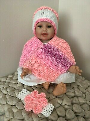 New Hand Knitted Baby Girls 0-3 Months up to 6 Months Poncho Hat and Headband