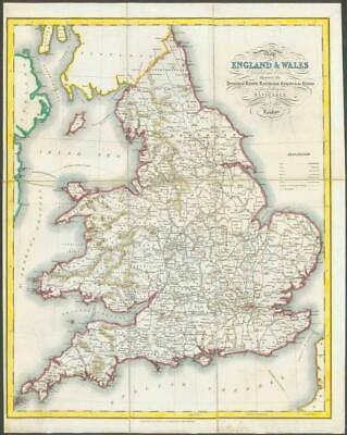 c1840 Original Antique Folded Map - ENGLAND & WALES Lewis on Linen (LM6)