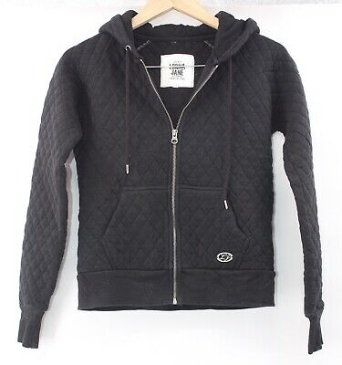 LORNA JANE Black Zip Front Quilted Pattern Thick Hooded Jacket - Size XS