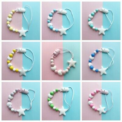 Silicone  Chew Toy Star Shape Soother Pacifier Chain Baby Teething Dummy Clips