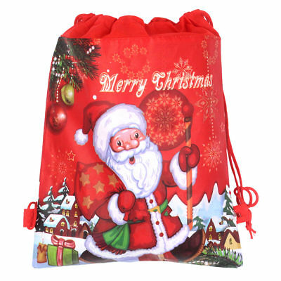1/2/5PCS Non-woven Christmas Santa Claus Strings Drawstring Xmas Gift Bags Red