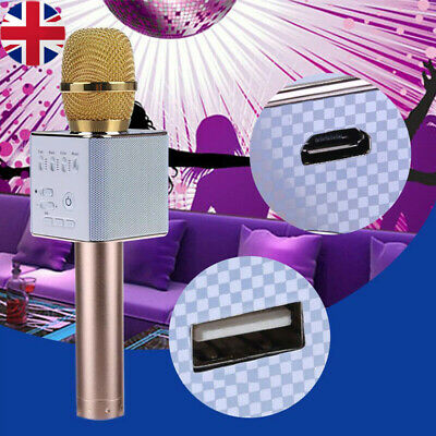 Q9 Karaoke Microphone Wireless Bluetooth Handheld Mic Ktv Usb Speaker Player Uk
