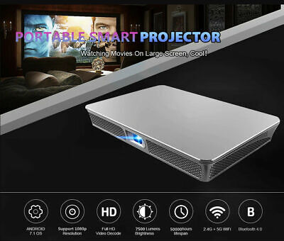 Mini 7500lms DLP Android 7.1 Wifi Home Theater Projector HD 1080p Cinema HDMI SD