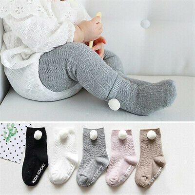 Boy Girl  Newborn  Knit Knee High Socks  Baby Socks Anti Slip Pompom Ball