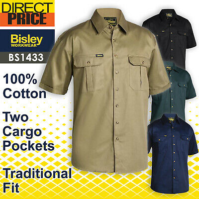 Bisley Work Shirt Original Cotton Drill - Short Sleeve BS1433 NEW