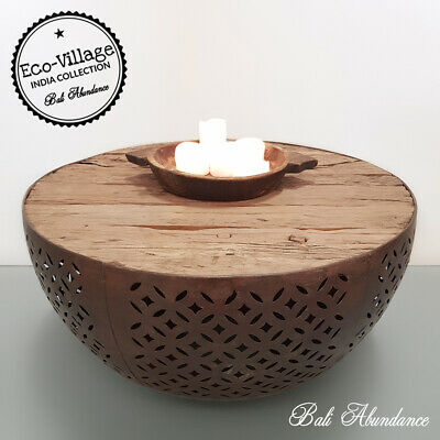 Reclaimed Timber Round Coffee Table with Metal Base - Eco Village Collection 98J
