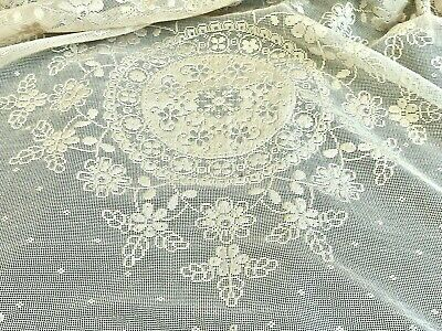 Exquisite Antique Normandy Lace Tablecloth France C 1900'S