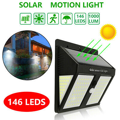 146 LED Solar Powered PIR Motion Sensor Light Outdoor Garden Security Wall Lamps
