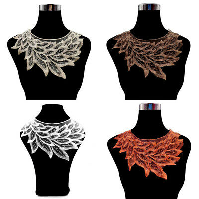 Decorative Leaves Lace Trim Neck Collar DIY Embroidered Edge Fabric Neckline