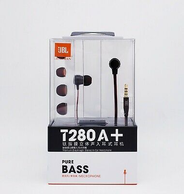 JBL T280A+ Earphones In-Ear Headphones with Inline Mic & Remote for IOS/Android