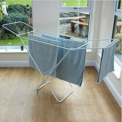 Foldable Laundry Cloths Airer 18m Dryer Washing Line Indoor Metal Rack Horse