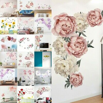 DIY Peony Flower Sunfolwer Lavender Wall Stickers Kids Art Nursery Decorations
