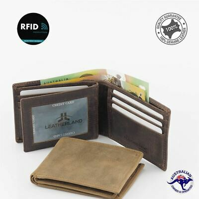 Men's RFID Genuine Premium Cowhide RUGGED HIDE Leather Slim Wallet 12 Cards Ne