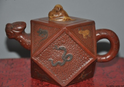 Chinese Yixing Zisha pottery Hand-carving 12 Zodiac animal Teapot pot Tea Maker