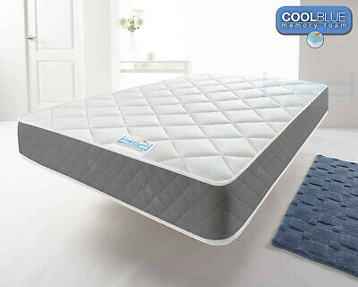 Cool Blue Memory Foam Sprung Grey Mattress Single 3ft, Double 4ft6, King 5ft