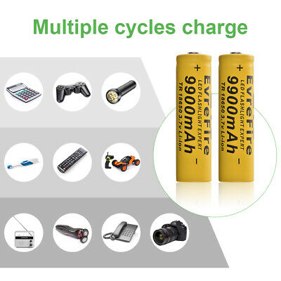 12x 18650 9900mAh Li-ion 3.7V Rechargeable Battery for LED Flashlight Torch RC99