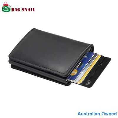 Credit Card Holder RFID Blocking Wallet Slim PU Leather Vintage Aluminum Slide