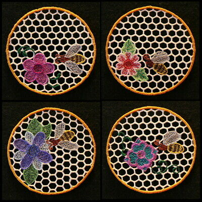 FSL BEEHIVE COASTERS - 4 inch-10 Machine Embroidery Designs CD (FREE SHIPPING)
