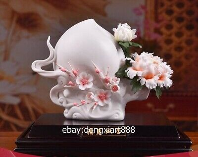 China White Porcelain Pottery Painted peach plum blossom peony Flower sculpture