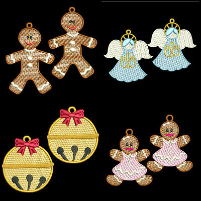 FSL CHRISTMAS EARRING -2 inch-10 Machine Embroidery Designs CD (FREE SHIPPING)