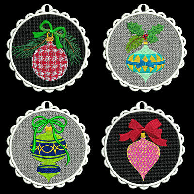 FSL CHRISTMAS ORNAMENTS -4 inch-10 Machine Embroidery Designs CD (FREE SHIPPING)
