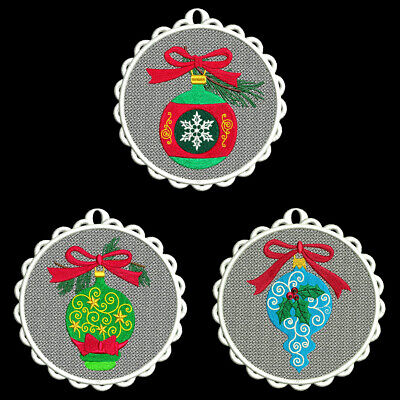 FSL CHRISTMAS ORNAMENTS -5 inch-10 Machine Embroidery Designs CD (FREE SHIPPING)