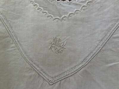 "Antique vintage French linen night dressing gown peasant smock shirt dress ""AG"""