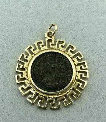 Awesome Vintage Solid 14k Yellow Gold and Ancient Roman Coin Pendant!