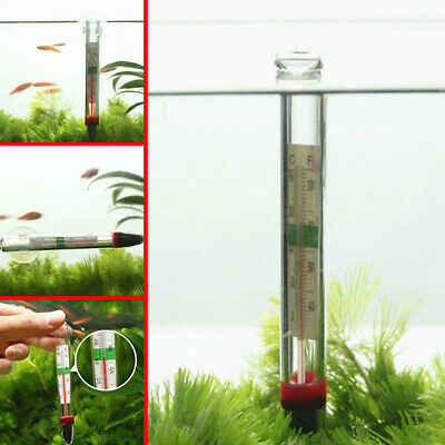 1PC Glass Thermometer Aquarium Fish Tank Water Temperature Meter Suction Cup New