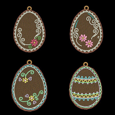 FSL GINGERBREAD EASTER - 3 inch-10 Machine Embroidery Designs CD (FREE SHIPPING)