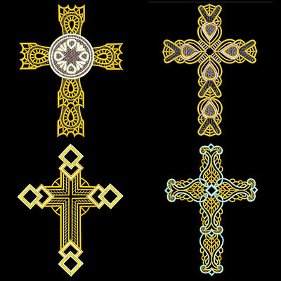 FSL ORNATE CROSSES - 4inch - 10 Machine Embroidery Designs CD (FREE SHIPPING)