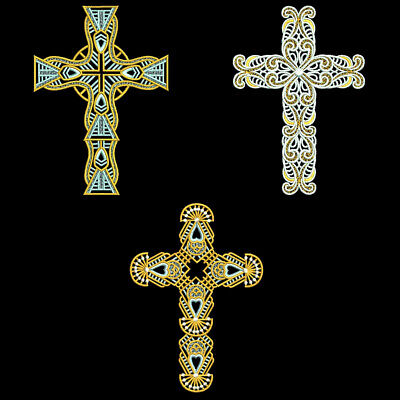 FSL ORNATE CROSSES - 5inch - 10 Machine Embroidery Designs CD (FREE SHIPPING)