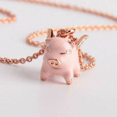 Kate Spade Pink Imagination Flying Pig Crystal Pendant Necklace w/ Gift Box