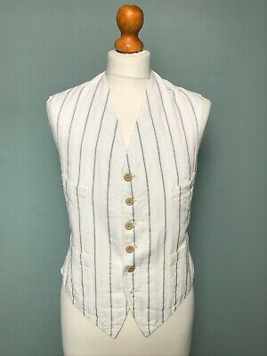 Vintage 1920's white striped cotton waistcoat size 36 38