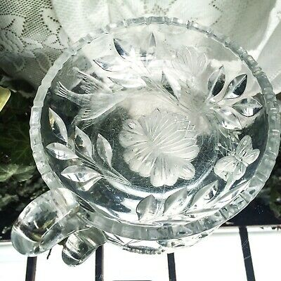 Antique American Brilliant Cut Glass Nappy Loop Handle Flower Bird Butterfly 7x8