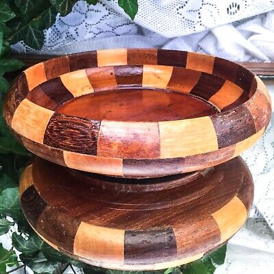 Vintage Hand Crafted Wood Block Bowl Various Wood Checkered Candy Fruit Nut Bowl
