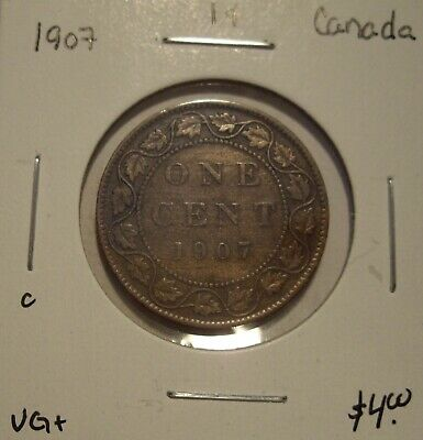 C Canada Edward VII 1907 Large Cent - VG+
