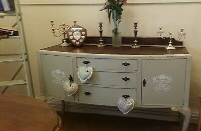 Vintage Sideboard Mahogany Cupboard Queen Anne Shabby Chic F&B Antique Buffet