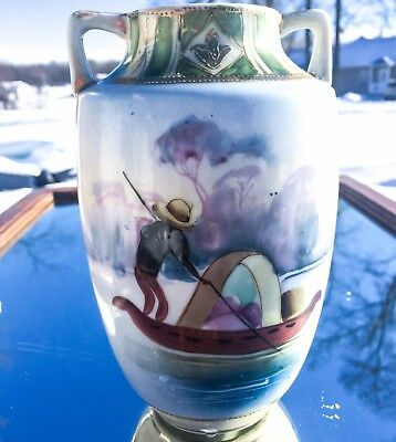 Antique Hand Painted Nippon 2 Handle Vase~Oriental River Scene Man in Pole Boat