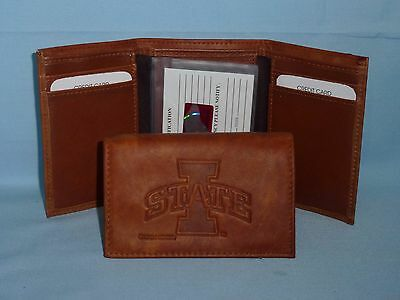 Iowa State Cyclones Embossed Leather Billfold Wallet NEW in Gift Tin