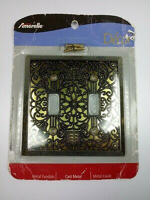 (1) Amerelle Decor Double Toggle Switch Wall Plate Cast Metal Brass Color NEW
