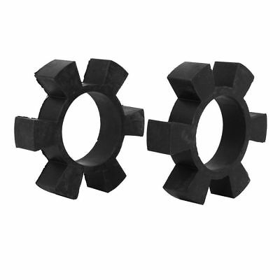 H● 108mmx56mmx24mm Rubber 6 Petal Design Spider Coupler Dampers Black 2pcs.