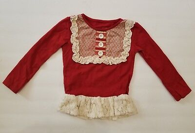 Persnickety Red Long Sleeve Lou Lou Lace Ruffle Shirt Girls 3 Years