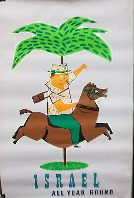 "ISRAEL ""HOLYDAY ALL YEAR ROUND"" ALITALIA Original POSTER by Jean David 1960's"