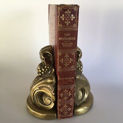 Pair Vintage Solid Brass Corbel Bookends Paris Apartment Gorgeous 5.5""