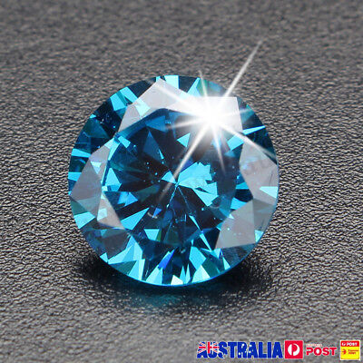 Unheated 6.22CT 10mm Sea Blue Sapphire Round Loose Gemstone Ring Earring