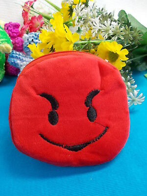 *** Plush Red Emoji Coin Purse Black Eyes With Zipper - New # 41 ***